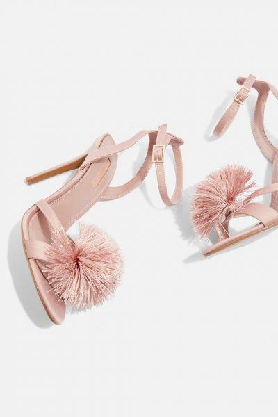 Pom Pom heeled sandals
