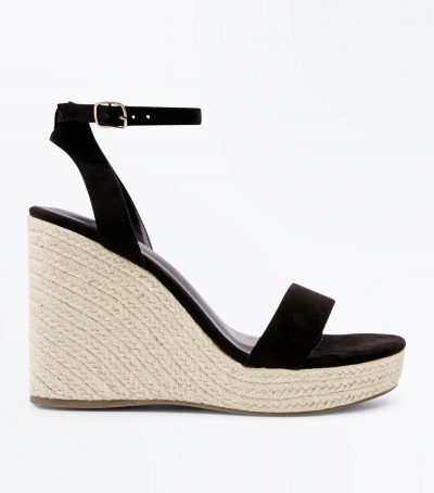 Suedette Ankle Strap Espadrille Wedges