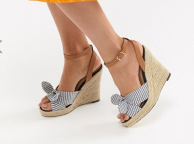 Striped Heeled Wedges