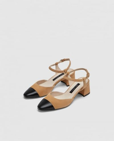 MID-HEEL LEATHER SLINGBACK SHOES