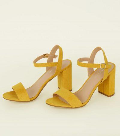 Mustard Suedette Block Heel Sandals