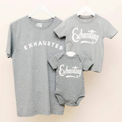 Dad And Baby 'Exhausted' And 'Exhausting' T Shirt Set