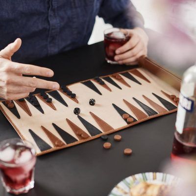 Personalised Leather Backgammon Set