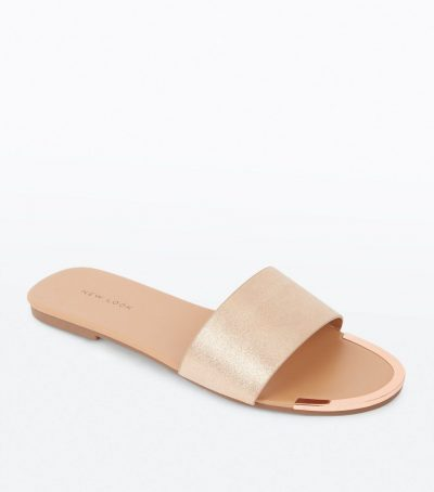 Rose Gold Metal Trim Mules