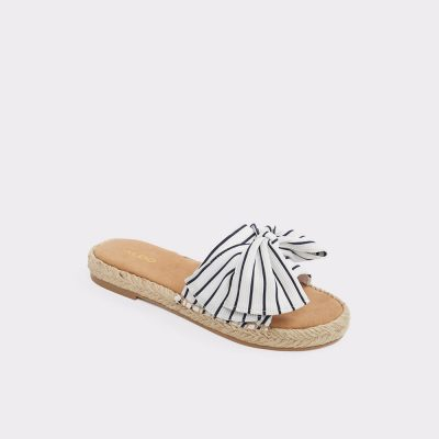 Striped bow sandal