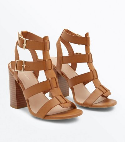 Tan Wooden Block Heel Gladiator Sandals