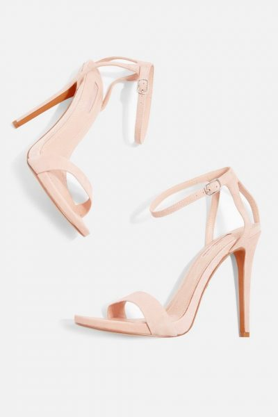 Nude Two Part Skinny Heeled Sandals
