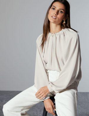 Oversized Ruffle Neck Long Sleeve Blouse