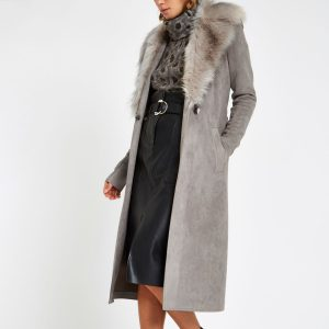 Grey suede belted faux fur robe coat