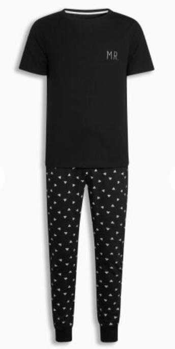 Black Mr Slogan Pyjama