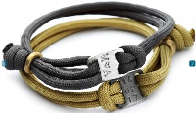 Personalised Men's Mini Plaque Paracord Bracelet