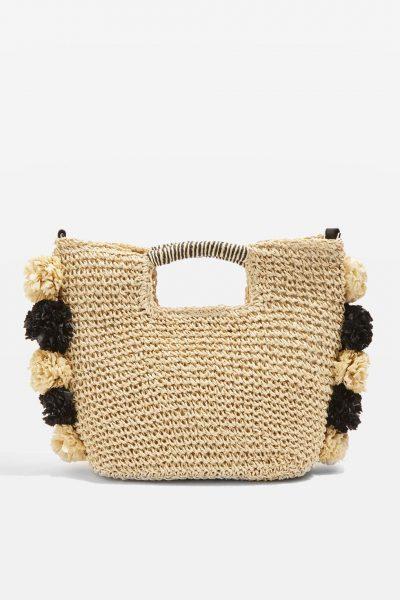 Topshop Bali Pom Straw Tote Bag