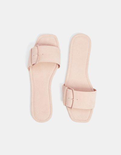 Buckled slide sandals