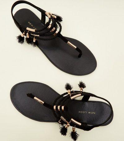Black Metal and Tassel Trim Flat Sandals