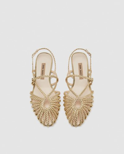 Braided caged sandals