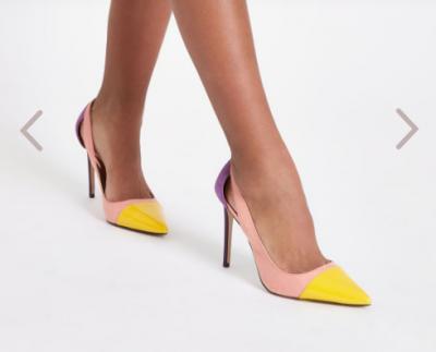 Pink colour block cut out court shoes