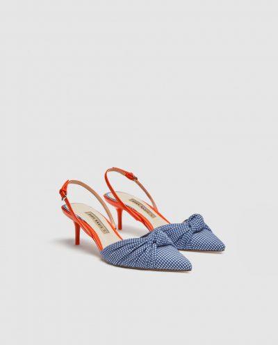 Gingham slingback shoes