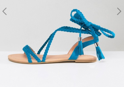 Fayla Plaited Tie Leg Flat Sandals