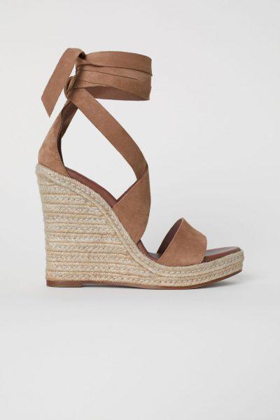 Suede wedge-heel sandals