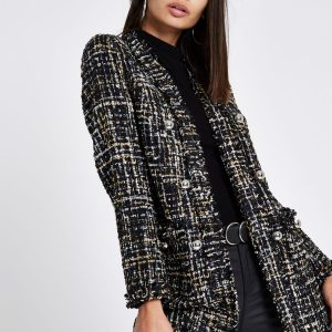 Black check boucle coat
