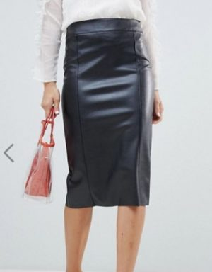 faux leather midi pencil skirt in black