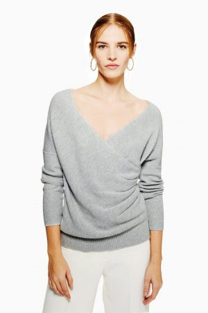 Pleat Wrap Jumper With Cashmere