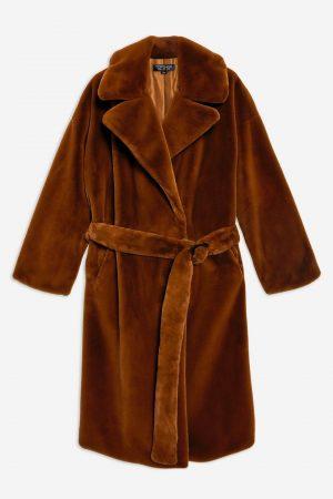 Belted Velvet Faux Fur Coat
